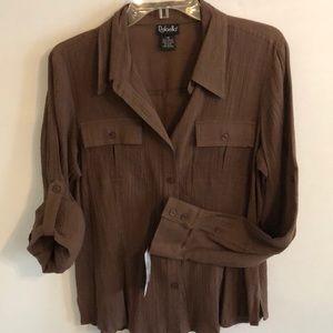 NWT Dark Brown Rafaella crinkle cotton blouse